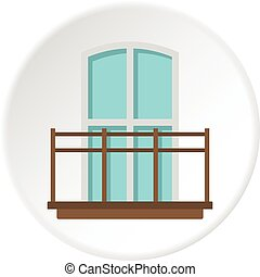 Balcony in french style icon circle
