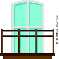 Balcony in french style icon isolated