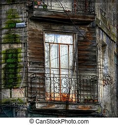 Balcony in front of abandoned house