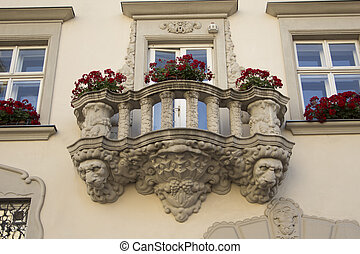 balcony in the courtyard of Lviv