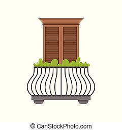 Balcony of European house with wrought iron railing and plants, window with shutters vector Illustration on a white background
