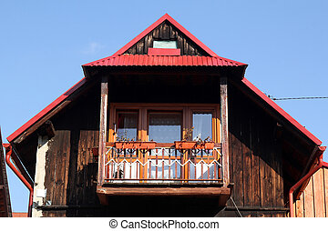 balcony of the old wooden house