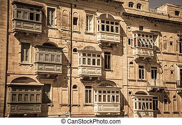 Balcony on the building - Valletta, Malta