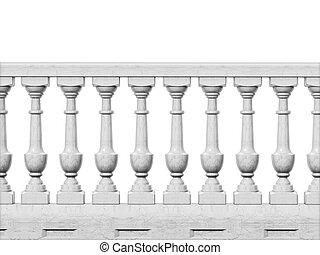 Balcony railing isolated on white background. 3D illustration