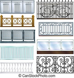 Balcony railing vector vintage metal steel fence balconied decoration architecture design illustration set of classical handrail balustrade construction isolated on white background