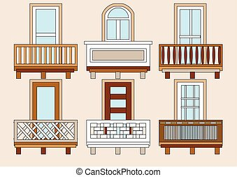 balcony. set of classical  different balustres in flat color