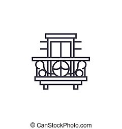 balcony, terrace vector line icon, sign, illustration on...