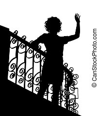 Balcony wave silhouette - Editable vector silhouette of a...