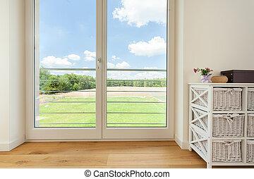 Balcony window in village house