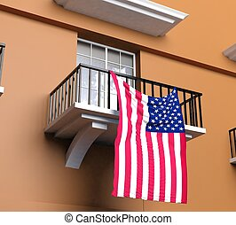 Balcony with American flag