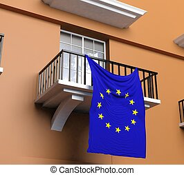 Balcony with flag of European Union