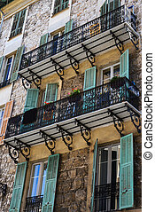 Balcony with flowers in Florence Italy