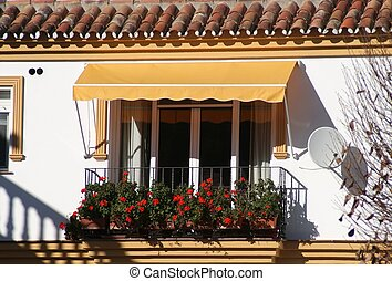 balcony with flowers,