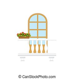 Balcony with marble railings, flower pots isolated