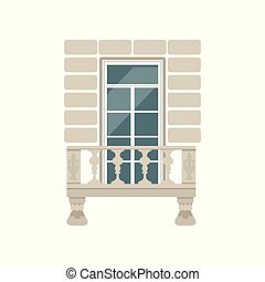 Balcony with stone balusters vector Illustration on a white background