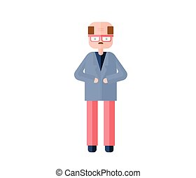 Bald accountant in glasses. Flat vector illustration. Isolated on white background.