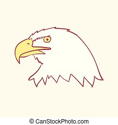 Bald american usa eagle mascot hand drawn style vector doodle design illustrations