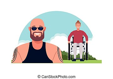 bald and man in wheelchair perfectly imperfect characters vector illustration design