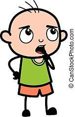 Bald Boy Cartoon wondering