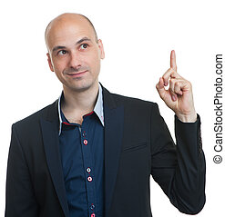 bald businessman pointing his finger up