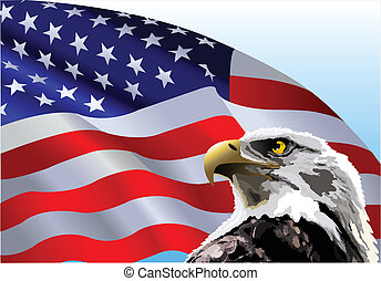 Bald Eagle American Flag - Bald eagle in front of an...