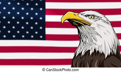 Bald Eagle Background - Seamless looping animation with hand...
