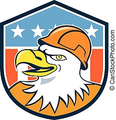 Bald Eagle Construction Worker Head Flag Cartoon
