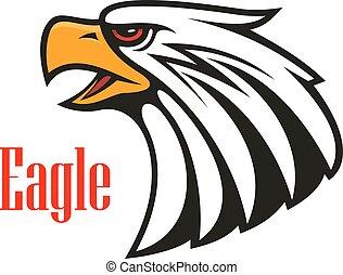 Bald Eagle crying. Vector emblem