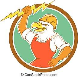 Bald Eagle Electrician Lightning Bolt Circle Cartoon