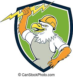 Illustration of a bald eagle electrician wearing hardhat holding lightning bolt viewed from side set inside shield crest done in cartoon style.