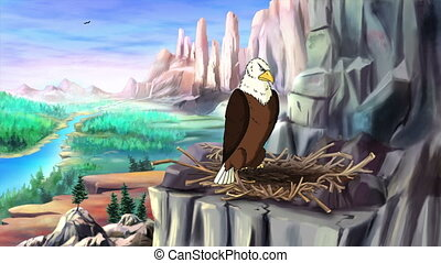 Bald Eagle Perched on Rock. Handmade Animation