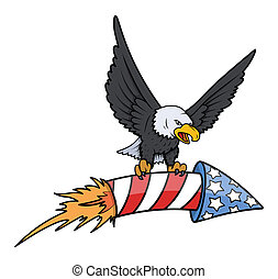 bald eagle holding a sky firecracker on 4th of july Vector Illustration