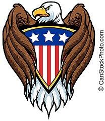 Bald Eagle Holding Shield