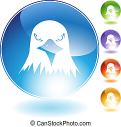 Bald Eagle Icon - Bald eagle icon isolated on a white...