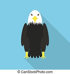 Bald Eagle in a flat design with long shadow