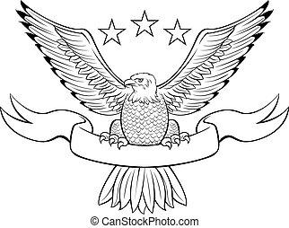 Vector illustration of a bald eagle crest