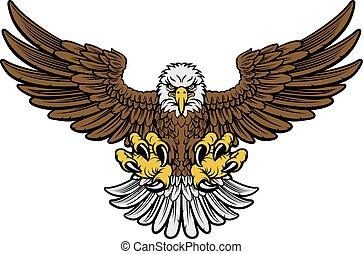 Bald Eagle Mascot - Cartoon bald American eagle mascot...