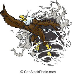 Bald Eagle Mascot Rips Background - Vector cartoon clip art...