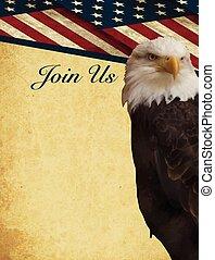 Bald eagle Patriotic invite vector