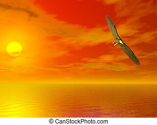 Bald Eagle - Illustrated surreal bald eagle flying over sea