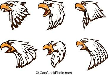 Bald Eagle vector emblems set
