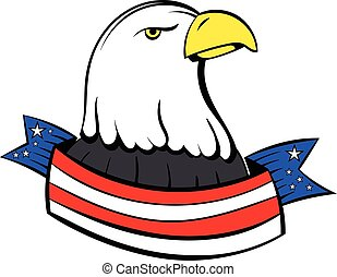 Bald eagle with USA flag icon cartoon