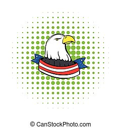 Bald eagle with USA flag icon, comics style