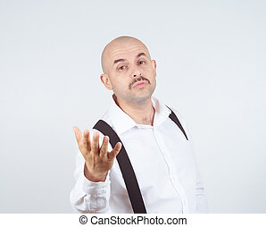 Bald funny man sends a air kiss