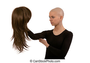 Bald girl - Girl with the smoothfaced head on a white...