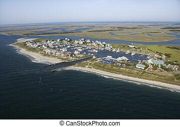 Aerial view of marina on Bald Head Island, North Carolina.