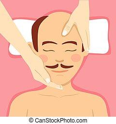bald-headed, uomo, detenere, dirigere massaggio, in, spa.,...
