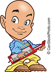 Bald Keyboard Player - Bald Techno Keyboard Player on the...