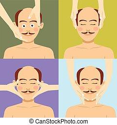 Bald man having facial massage in spa. Top view