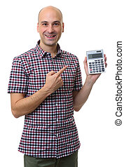 bald man holding calculator